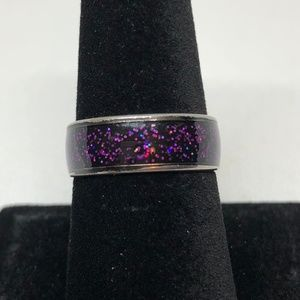 Red/Blue Flecked Black SS Unisex Ring Size 8